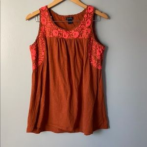 Lucky Brand Floral Embroidered Rust/Burnt Orange